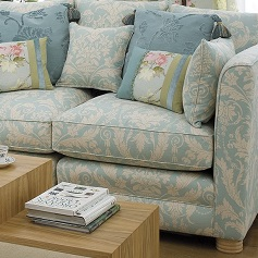 Reupholstery pale blue and cream sofa