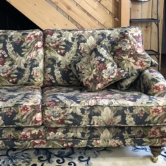 Reupholstery Green floral patterned sofa