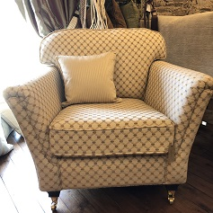 Reupholstery triangle pattern chair cream and brown