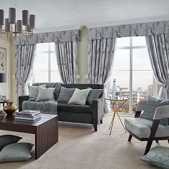 Made to Measure Curtains Grey curtains with pelmets