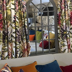 Made to Measure Curtains Large pattern floral curtains and cushions