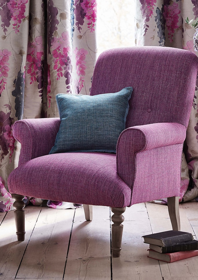 Reupholstery  purple high back chair