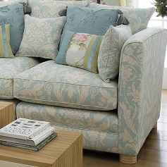 Bespoke Sofas Cream and green patterned sofa