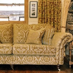 Bespoke Sofas Gold Jacquard patterned sofa