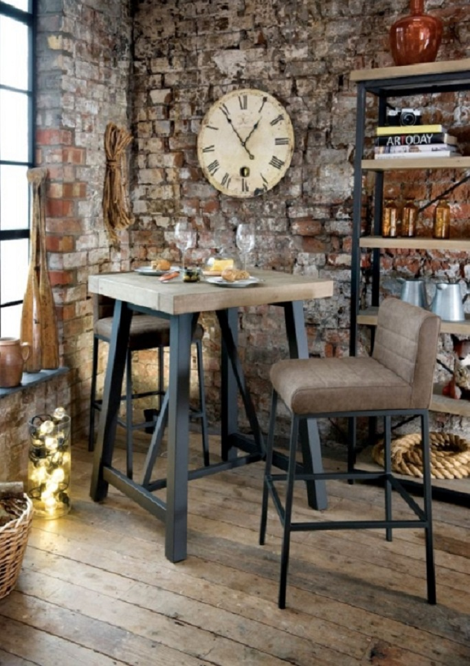 Rowico dining Bar Table and two bar stools The Rustic Lowry collection